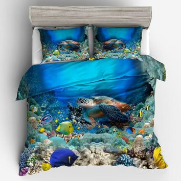 Cool Turtles in the sea 3D Print Bedding Set Comforters coverlets Quilt/Duvet Covers Single Twin Full Queen Super King Size Bed BoysAT_93_12