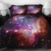 Galaxy quilt cover galaxy duvet galaxy sheets space sheets outer space bedding set bedspread with two matching pillow covers