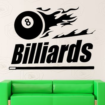 Vinyl Decal Billiards Wall Sticker Hobbies Sport Leisure Entertainment Shooting Pool Man Cave Decor Unique Gift (ig2454)