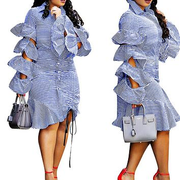 New Layered Lotus Leaf Side Sleeve Tie-pull Down Stripe Dress for Women Light blue Only one piece