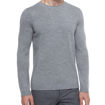 Vernon Crewneck Wool Sweater, Gray, Size: