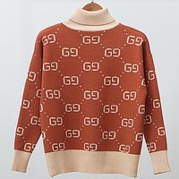Gucci Autumn Winter Fashion Women Casual High Collar Brief Paragraph Double G Print Knit Sweater Brown