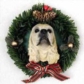 COCKER SPANIEL BLONDE WREATH ORNAMENT