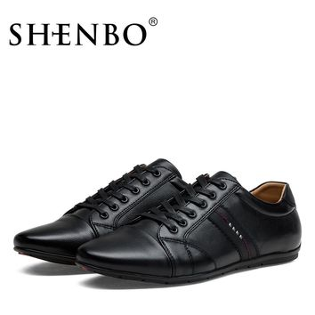 SHENBO Brand Fashion PU Leather Men Shoes, Most Popular Men Casual Shoes, Black Fashion Sneaker Shoes For Men