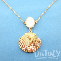 Seashell Starfish Ocean Inspired Mermaid Jewelry Pendant Necklace in Gold