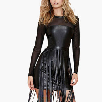 Black Long Sleeve Mesh Overlay Fringed Leather Mini Dress
