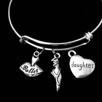 Daughter Ballet Shoes Ballerina Adjustable Bracelet Expandable Silver Charm Bangle Dance Gift