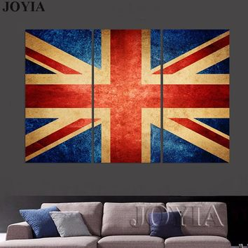 Vintage Flags Wall Art Large Great Britain Flag Canvas Wall Decor Paintings 3 Pieces Poster Prints For Home Living Room Decors