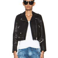 Mape Leather Jacket in Embossed Black