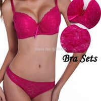Sexy Bra Set Push Up ABC Cup VS Bra+Thong Lace Embroidery French Romantic Women's Underwear Sets Bra And Panty Set