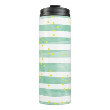 Vintage White Stripes Pattern Thermal Tumbler