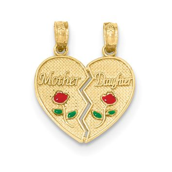 14k Yellow Gold & Enamel Mother, Daughter Set of 2 Heart Pendant, 17mm