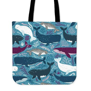 Whale Party Linen Tote Bag