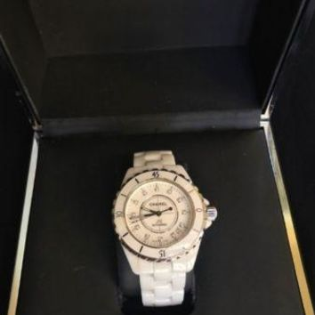 CHANEL J12 WATCH WHITE CERAMIC & STEEL, DIAMOND INDICATORS UNISEX 38MM