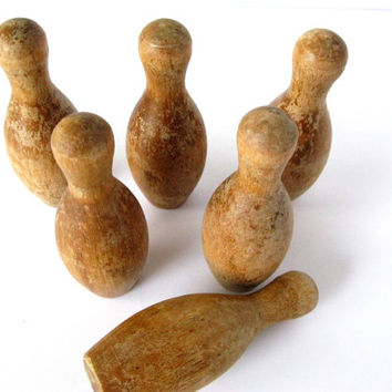 Vintage Mini Wooden Bowling Pins, Set of Bowling Pins, Folk Art Toys, Six Bowling Pins