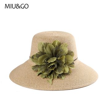 2017 Holiday Elegant Floral Straw Hat Female Summer Beach Bucket Sunhat for Women Floppy Hat for Ladies Chapeu Feminino 67037