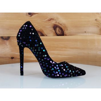 "Ricky 15 Black Multi Purple Sequin Pointy Toe Pump Shoe 4.5"" High Heels 6- 11"
