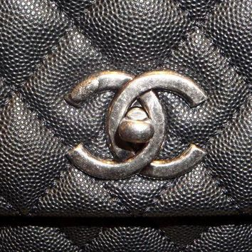 Chanel Black Coco Handle Flapbag Caviar Quilted Bag - Beauty Ticks