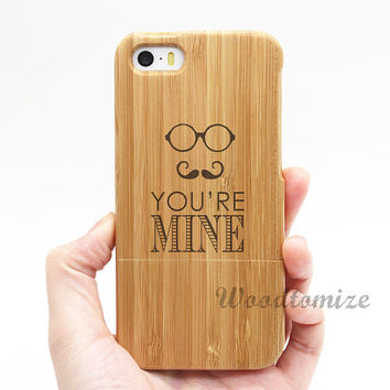 Real wood couple case, you are mine, iPhone 5C case, iPhone 5S 5 case, Wood cover, Bamboo, FREE screen protector