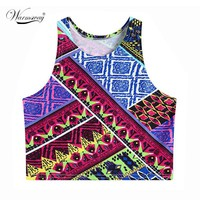 New Arrival Fashion Women Tank Top Aztec Tribal Pattern Sleeveless Crop Top Nightclub Wear Sexy Blouse
