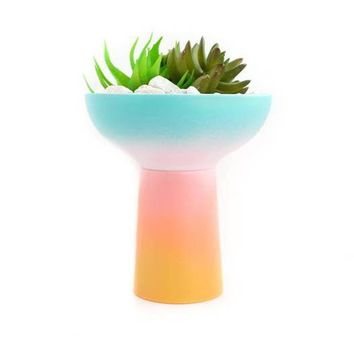 Ceramic Gradient Planter - Turquoise to Yellow Ombre