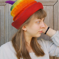 Rainbow felted hat , fancy toque hat, warm wool hat, rainbow hat with tip, festival outfit, bohemian style. OOAK