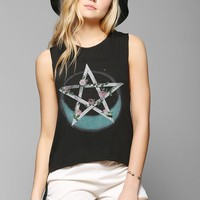 Black Moon Knot-Back Floral Muscle Tee - Urban Outfitters
