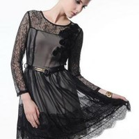 Bqueen  Slim Lace Stitching Chiffon Dress MXK09H