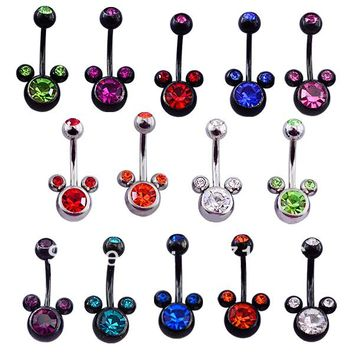 free shipping 14pcs/lot plated black snd steel gemmed mickey belly navel ring body piercing jewelry