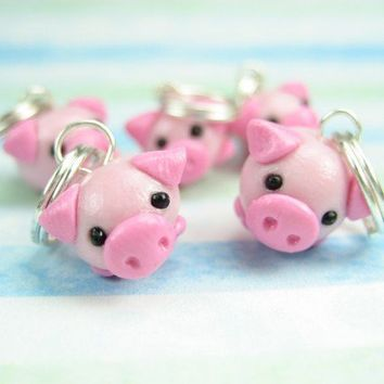 Cute Little  Pig Stitch Markers Set of 5 by beadpassion on Etsy