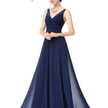 Evening Dresses Long Women Gown Vestidos Ever Pretty EP08877 2016 New Arrival V-Neck Summer Style Evening Dresses