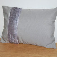 modern, grey decorative pillow cover / cushion case with grey satin pleaded band