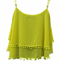 *SALE*POM POM TASSEL CHIFFON LAYERED VEST TOP