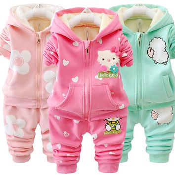Girls Autumn Winter Hello Kitty Hooded Set Plus Velvet jacket Sports Suit Warm Pant Floewr 2pcs Casual Outfit Baby Kids Clothing