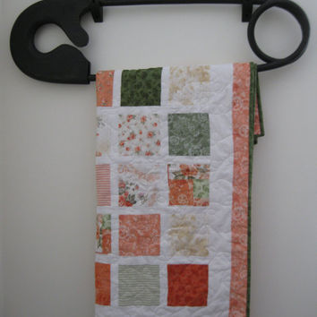 Baby Girl Crib Quilt, Shabby Chic Baby Girl, Orange & Green Fall Quilt