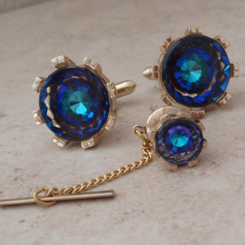 Swarovski Cufflink Set Flat Top Fancy Cut Bermuda Blue Swank Vintage 110416RC