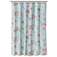 Threshold™ Floral and Birds Shower Curtain - Blue