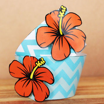 Printable 3D Hibiscus Flower Cupcake Wrapper and Topper Set in blue and orange chevron patterns INSTANT DOWNLOAD