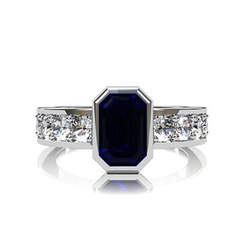Blue sapphire engagement ring, white gold, white sapphire ring, emerald cut sapphire, blue sapphire solitaire, unique