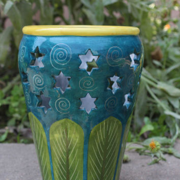 Indian Hand-painted Stars design blue pottery Flower Vase