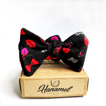 Hanamel Hello Kitty Self Tie Bow Tie - Hello Kitty Bowtie Bowties - Black Hello kitty Bow Tie Birthday Gift- Cute Bow Tie - Funny bow tie