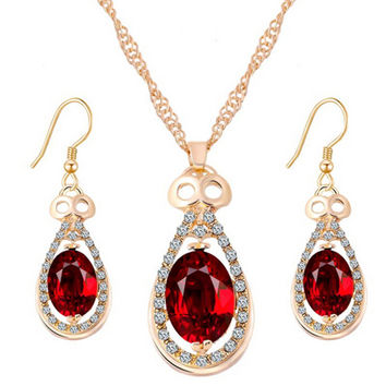 Shiny New Arrival Gift Stylish Simple Design Water Droplets Pendant Crystal Earrings Jewelry Set Accessory Necklace [7984419910]