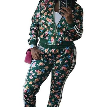 Two Piece Floral Print African Casual Jumpsuit
