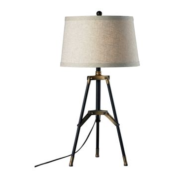 D309 Functional Tripod Table Lamp in Restoration Black and Aged Gold - Free Shipping!