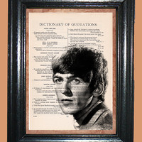 George Harrison Beatle's Fab Four - - Vintage Dictionary Book Page Art - Upcycled Page Art - Collage Wall Art - Mixed Media Art