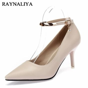 Rivet Metal Decoration Women Pumps Party Wedding Shoes 7CM High Heel Pointed Toe Brand Ladies Shoes 2018 BLY-B0066