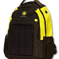 Yellow / Black - SolarGoPack Solar Panel Backpack - 5-Watt Solar Panel Back Pack with 10000 mAh Battery