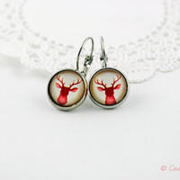 Red Deer Dangle Earrings, Silver Earrings, Christmas jewelry, Pendant Earrings, Animal Earrings, Deer Earrings, Photo Picture Earrings