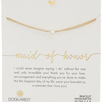 "Dogeared Maid of Honor, Small Button Pearl Gold Bracelet, 5""+1.5"" Extender"
