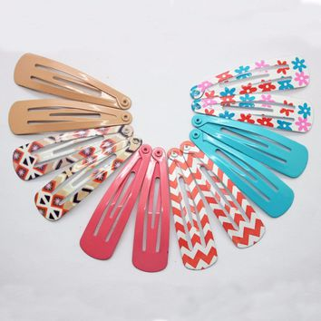 12pcs/lot printed stripe patterns & Solid color hairpins metal snap hair clip hair accessories Floral print headwear Headdress